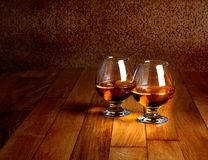 Two goblets of brandy Royalty Free Stock Photography