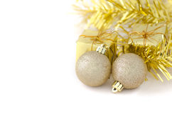 Two Gold Ball with Gift Box for New Year and Christmas Royalty Free Stock Photography