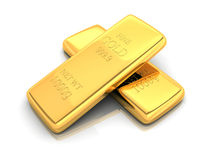 Two gold bar 3d Stock Image