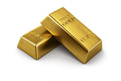 Two gold bars. 3d rendering of two gold bars Royalty Free Stock Image