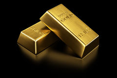 Two gold bars. 3d rendering of two gold bars Royalty Free Stock Images