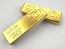 Two gold bars. On gray background Royalty Free Stock Photo