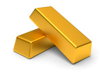 Two gold bars. Gold bars  on the white background Stock Photography