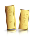 Two gold bars with reflection. On white background Royalty Free Stock Images