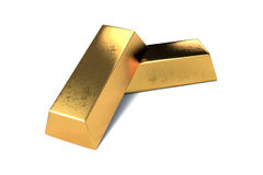 Two gold bars on white background isolated Stock Photography
