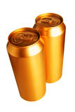 Two gold beer cans Royalty Free Stock Image