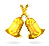 Two gold bell 3d illustration. Royalty Free Stock Photo