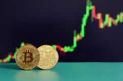 Two gold bitcoins lie on the green surface on the background of. The display, which depicts the growth of the position on the chart Royalty Free Stock Image