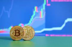 Two gold bitcoins lie on the green surface on the background of. The display, which depicts the growth of the position on the chart Stock Images