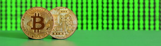 Two gold bitcoins lie on the green surface on the background of Royalty Free Stock Photos