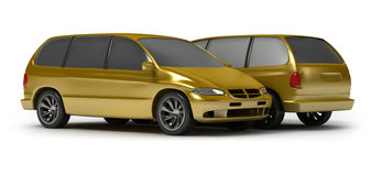 Two Gold Cars Stock Photography