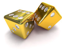 TWO GOLD DICE. 2 GOLD Dice rolling craps on white background Stock Photo