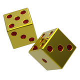 Two gold dices isolated on white. Royalty Free Stock Images