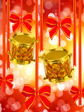 Two gold drums and red bows. Background with two gold drums and red bows Royalty Free Stock Photography