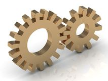 Two gold gears Royalty Free Stock Images