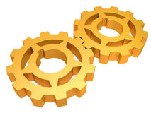 Two gold gears isolated on a white background Stock Photo