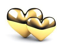Two gold hearts Royalty Free Stock Image