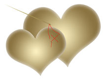 Two gold hearts Royalty Free Stock Images