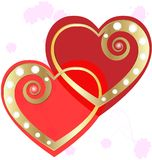 Two gold hearts Royalty Free Stock Photo