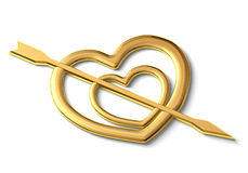 Two gold hearts. Punched by an arrow symbol of love Royalty Free Stock Photography
