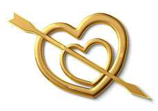 Two gold hearts. Punched by an arrow symbol of love Stock Photography