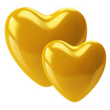 Two gold hearts stock illustration