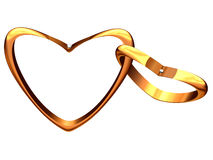 Two gold hearts linked among themselves. Royalty Free Stock Image
