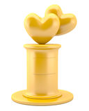 Two Gold Hearts On Pedestal Royalty Free Stock Photos