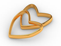 Two gold hearts Stock Images
