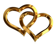 Two gold hearts.  on white. Stock Images
