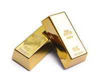 Two gold ingot Stock Images