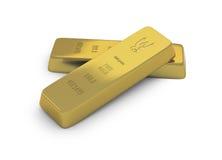 Two gold ingots or bullion on white background Royalty Free Stock Photography