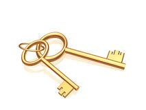 Two gold keys on a glossy white background Royalty Free Stock Photography