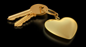 Two gold keys and heart Royalty Free Stock Image