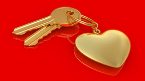 Two gold keys and heart Stock Photos