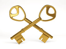 Two gold keys on white background. 3d rendering Royalty Free Stock Photos