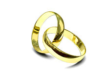 Two gold rings. Over white background Stock Image