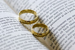 Two gold rings Stock Images