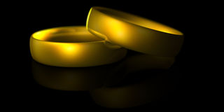 Two gold rings. Two shiny gold rings reflected on black royalty free illustration