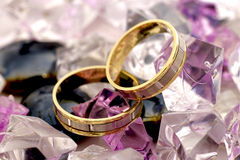 Two gold rings stock photos