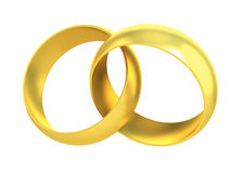Two gold rings crossed 3d illustration Royalty Free Stock Images