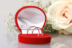 Two gold rings in red box Royalty Free Stock Images