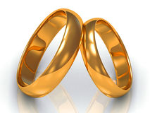 Two gold rings tilted at each other Stock Photography