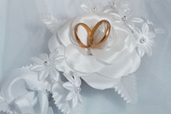 Two gold rings and wedding background Royalty Free Stock Images