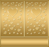 Two gold valentines hearts  Stock Image