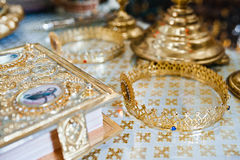 Two gold wedding crowns Stock Images