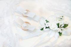 Two gold wedding gold rings. Romance Stock Photo