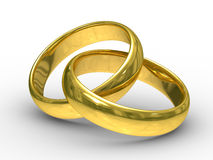 Two gold wedding rings. Isolated 3D  image Royalty Free Stock Images