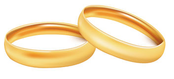 Two gold wedding rings. Royalty Free Stock Photography