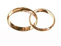 Two gold wedding rings Royalty Free Stock Photography